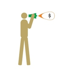 Modern flat icon man with megaphone money vector