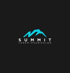 Modern mountain logo design technology vector