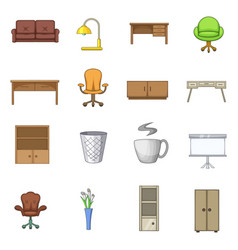 Office furniture interior icons set cartoon style vector