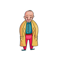 old senior man with yellow coat in red pants vector image