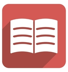 Open Book Flat Rounded Square Icon with Long vector