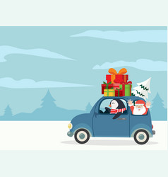 Penguin driving car with gift boxes merry vector