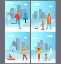 people walks in winter with cityscape behind set vector image