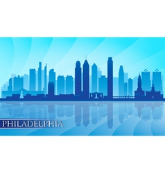 Philadelphia city skyline detailed silhouette vector image
