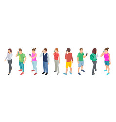 phone talking isometric people communication vector image