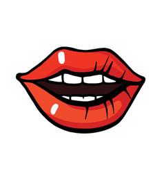 Pop art style lips sticker vector