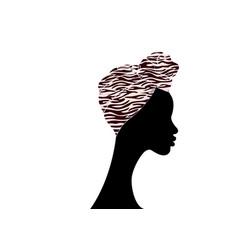 Portrait afro woman shenbolen ankara turban vector