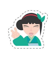 portrait pretty geisha green kimono vector image