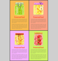Preserved food posters with fruits and vegetables vector