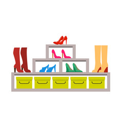racks with various pair of shoes colorful banner vector image