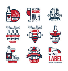 red grape wine vintage labels set collection of vector image