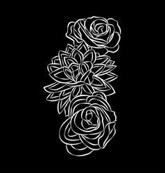 rose motif flower design elements on black vector image