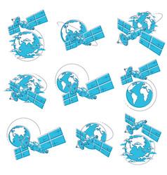 Satellites orbiting around earth spaceflight vector