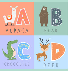 Set animal and letters vector