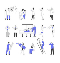 set male and female doctors and patients vector image