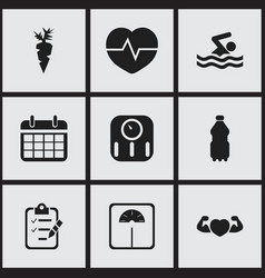set of 9 editable fitness icons includes symbols vector image