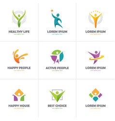 Set of abstract colorful human logo vector