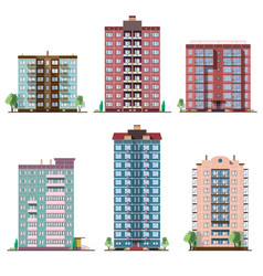 Set of different panel residential houses vector
