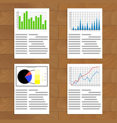 Set of documents with graphics and charts vector