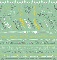 Set of hand drawn lines border branches and vector image