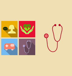 Set of medecine icons on sand background included vector