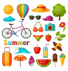 Set of stylized summer objects design for cards vector