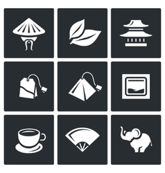 Set of Tea Icons China Leaf Temple vector image