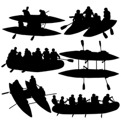 Silhouette collection people rafters on boats vector