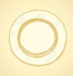 Sketch cute plate in vintage style vector image