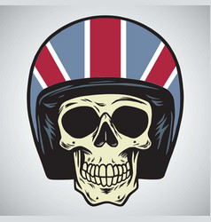 Skulls with england motorcycle helmet vector