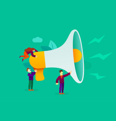 small cartoon people with megaphone announcement vector image