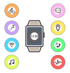 smart watches icons outline isolated set vector image