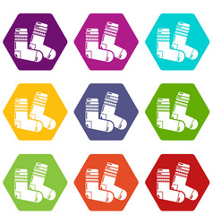 socks icons set 9 vector image