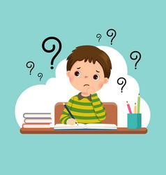Stressed boy doing hard homework vector