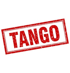 Tango red square grunge stamp on white vector