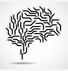 technological brain circuit board vector image