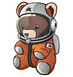 teddy bear astronaut cartoon character vector image