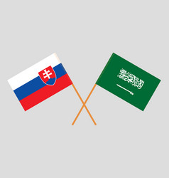 The slovakian and saudi arabia flags vector