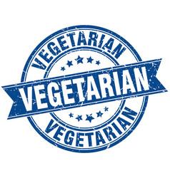 Vegetarian round grunge ribbon stamp vector