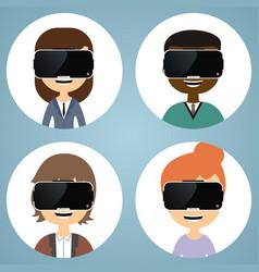 virtual reality glasses man and woman flat icons vector image