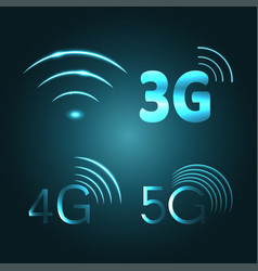 Wi fi 3g 4g and 5g technology glow icon symbols vector