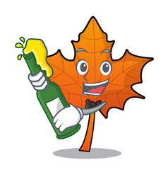 With beer red maple leaf mascot cartoon vector
