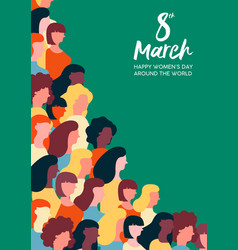 Womens day 8th march poster of women parade vector