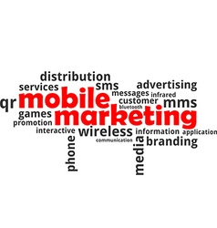 word cloud mobile marketing vector image
