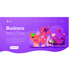 workflow landing page template vector image