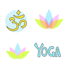 Yoga aum and lotus simbols vector