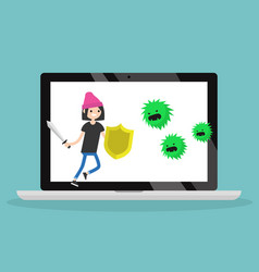 Young brunette woman fighting against virus flat vector