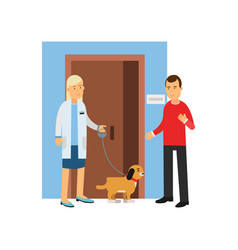 young man at the veterinary doctor with his pet vector image