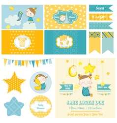 Baby shower sleeping girl theme - for party vector