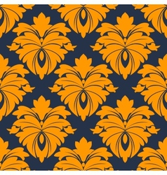 Damask seamless pattern in blue and orange vector